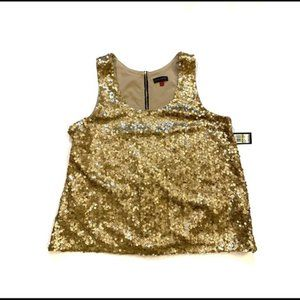 NWT Vince Camuto Gold Sequin Tank Top Blouse